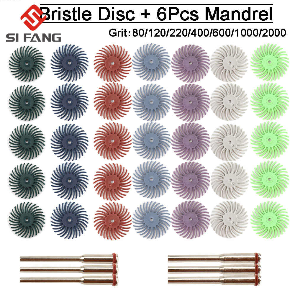 35Pcs 1Inch Mini Radial Bristle Disc Mix Set with 3Pcs 2.35mm //3mm Shank Mandrels for Rotary Tools Cleaning Finishing Deburring,Mixed Grit 80//120//220//400//600//1000//2000 Bristle Abrasive Buffing Wheel