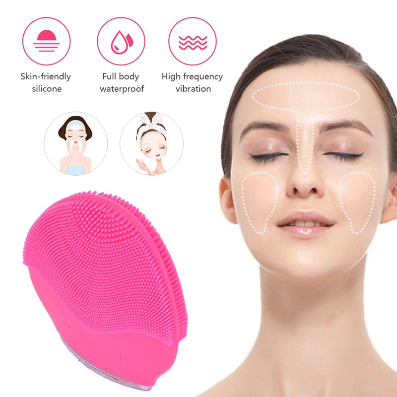 USB Charging Ultrasonic Silicone Cleansing Mini Portable Vibration Facial Cleaning Brush Massage Machine For Face Care Tools