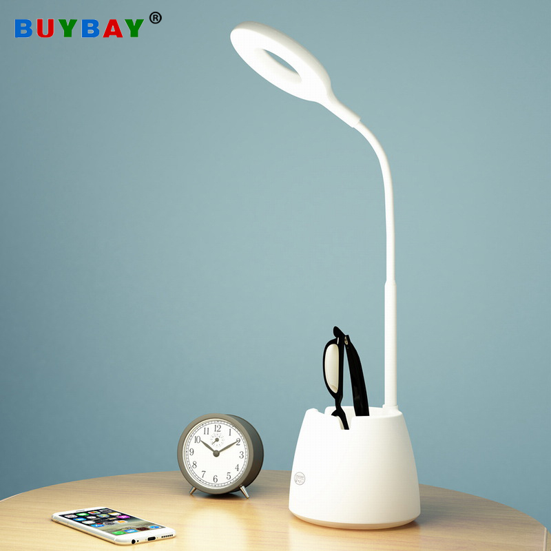 USB Led Desk Lamps 1600mah Rechargeable Reading Lamp for Children Kids Study with Pen Holder Flexible Reading Ring Light Desk Lamps Lights & Lighting - title=