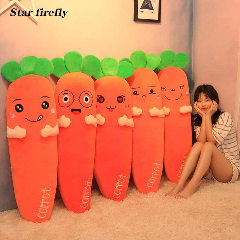 60-120cm Cretive Simulation Plant Plush Toy Stuffed Carrot Stuffed With Down Cotton Super Soft Pillow Lovely Gift For Girl