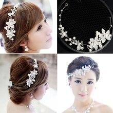 Crystal Wedding Headband Beaded Flower Prom Bridal Hair Band Bride Headpiece For Women Jewelry Decoration
