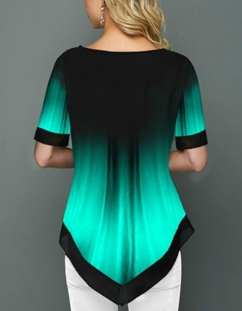 Womens Summer Fashion Printed Blouses Casual Short Sleeved Button Chiffon Shirt Women Plus Size Irregular Loose Shirt Tops 4