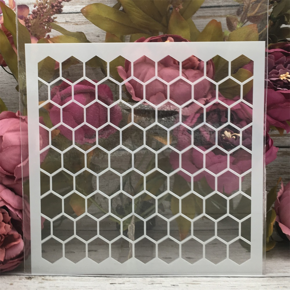 20*20cm Hive Hex Texture DIY Layering Stencils Painting Scrapbook Coloring Embossing Album Decorative Template