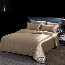 Pillowcase Bedding-Set Bed-Sheet Duvet-Cover Silky Queen Solid-Color A/b-Side Luxury
