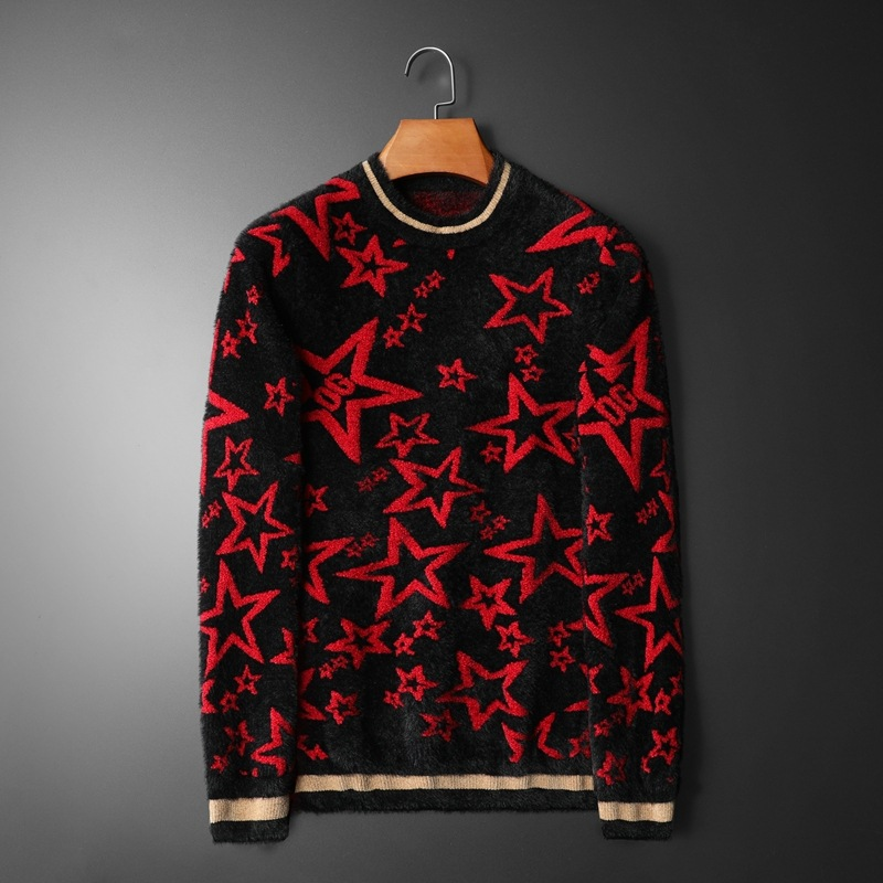 New 2019 Men Luxury Winter Hot Red Stars Stripes Embroidered Casual Sweaters Pullover Asian Plug Size High Quality Drake #N174