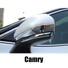 For Toyota Camry 2018 2019 8th XV70 Rearview Mirror Decorative Strip Stainless Steel Material Accessories lsrtw2017 stainless steel car trunk trims for toyota camry 2018 2019 xv70