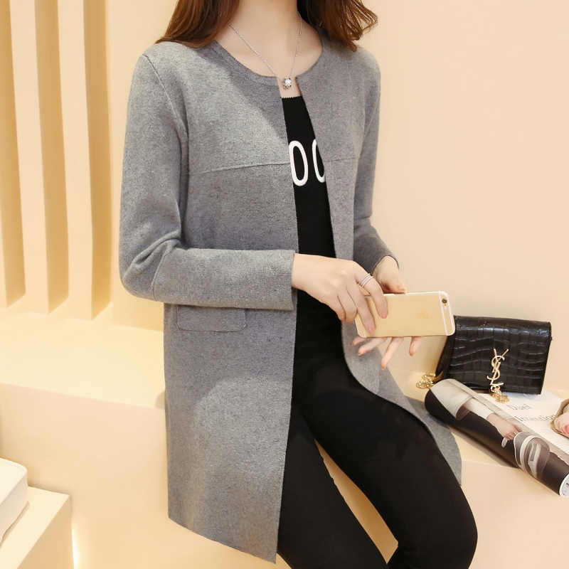 Кардиган Feminino куртка весна и осень платье новая Корейская версия средней длины свободный студенческий вязаный кардиган женский в 2019