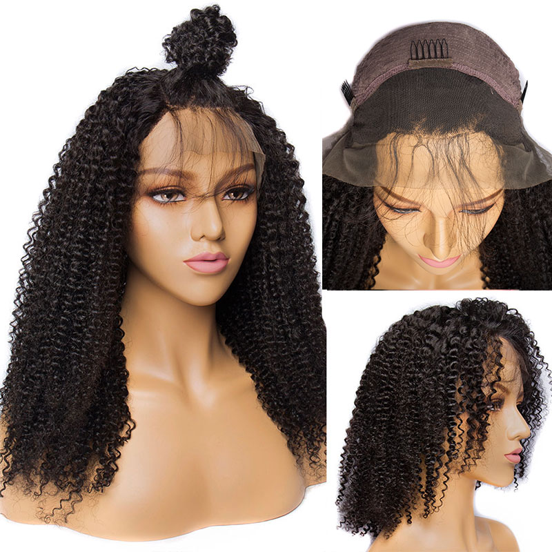 ALIBELE HAIR Afro Kinky Curly Lace Frontal Human Hair Wig For Black Women 10-24 Inch 150% Remy Brazilian Hair Lace Front Wig