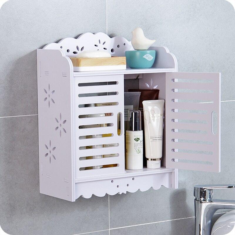 US $30.9 |Bathroom wall mounted wood shelves free punching toilet shower  supplies storage cabinet rack bathroom accessories mx01151416-in Bathroom  ...
