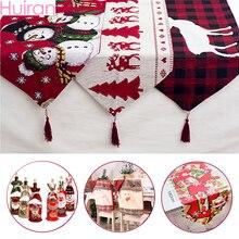 Huiran, льняные рождественские олени, снеговик, настольная дорожка, рождественские украшения для дома, рождественские украшения, новогодние, Navidad