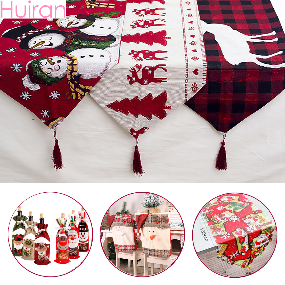 Huiran Linen Christmas Elk Snowman Table Runner Merry Christmas Decorations For Home 2019 Xmas Ornaments New Year 2020 Navidad