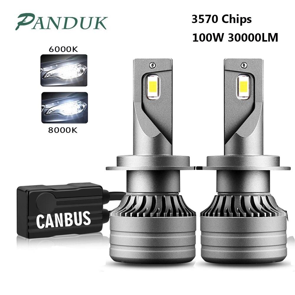 PANDUK 2 шт. 100 Вт 30000LM Автомобильный светодиодный фар H1 H4 H7 светодиодный Canbus H8 H9 H11 9005 HB3 9006 HB4 дальнего света авто фары лампы Авто Turbo