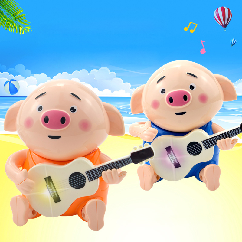 Baby Electric Toy Baby Playing Guitar Pig Light Music Shaking Head  Mini Pets  Without Battery