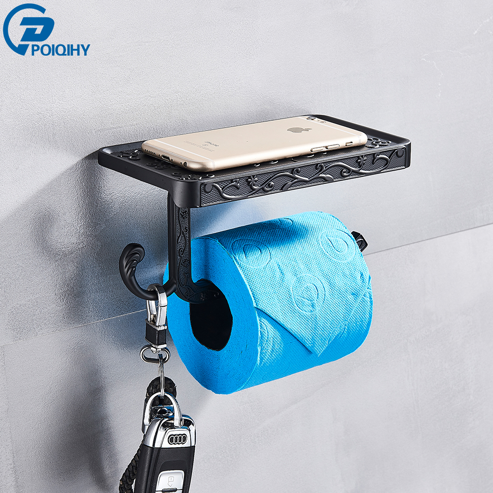 POIQIHY Bathroom Hardware Set Black Paper Mobile Phone Holder Zinc Alloy Antique Roll Holder With Shelf Wall Mount Toilet Paper