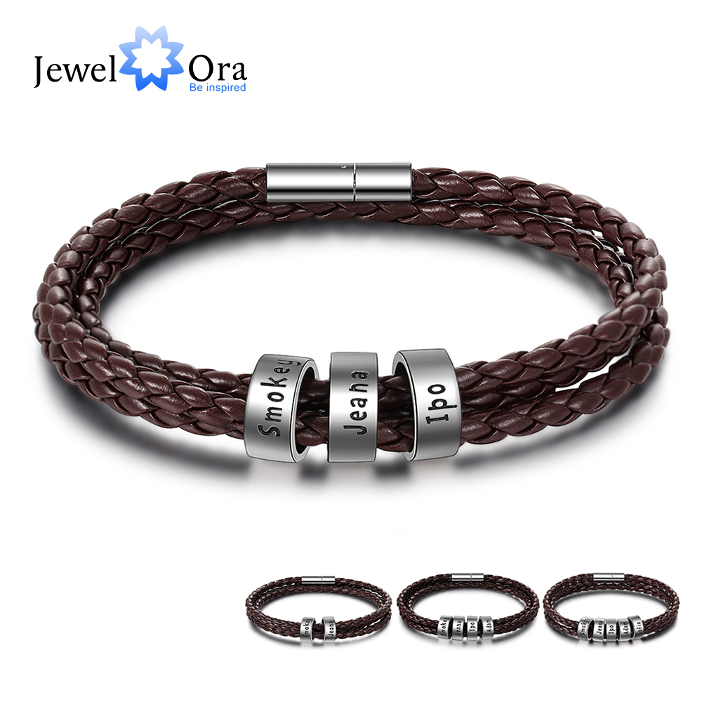 Customized 2-5 Names Beads Bracelets For Men Personalized Brown Braided Rope Leather Bracelet Male Jewelry Gift For Grandfather