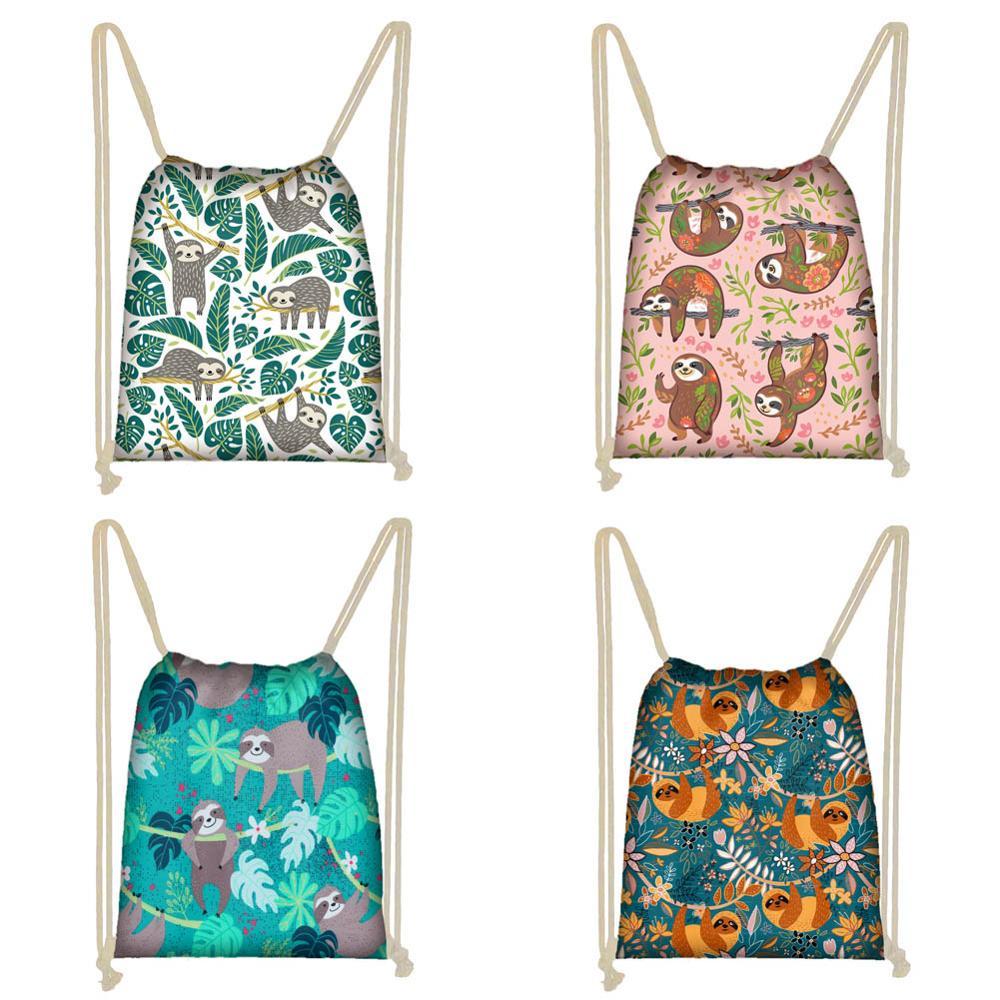 Twoheartsgirl Jungle Sloth Print Drawstring Bags For Women Men Cute Student Kids Travel Softback Small Boys Girls Storage Bags