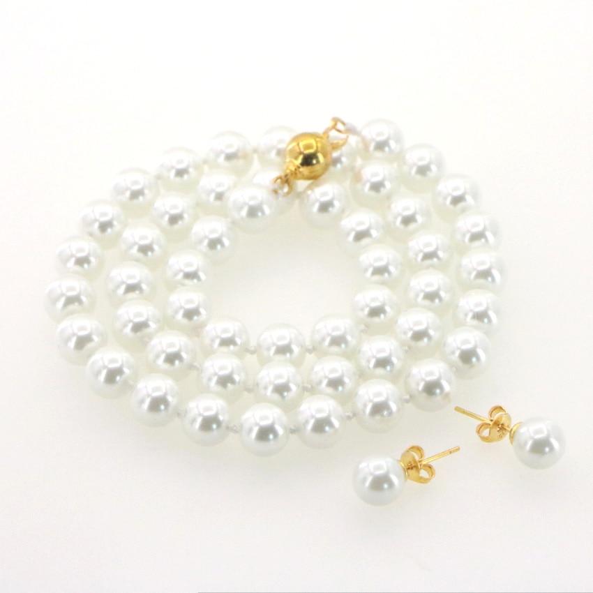 "8 mm Nanyang Shell Perle Collier Boucle D/'Oreille Set 18/"""