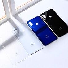 Funda trasera para Xiaomi Mi 8 mi8, carcasa de cristal para puerta trasera, Panel de repuesto, carcasa de teléfono con pegatina adhesiva