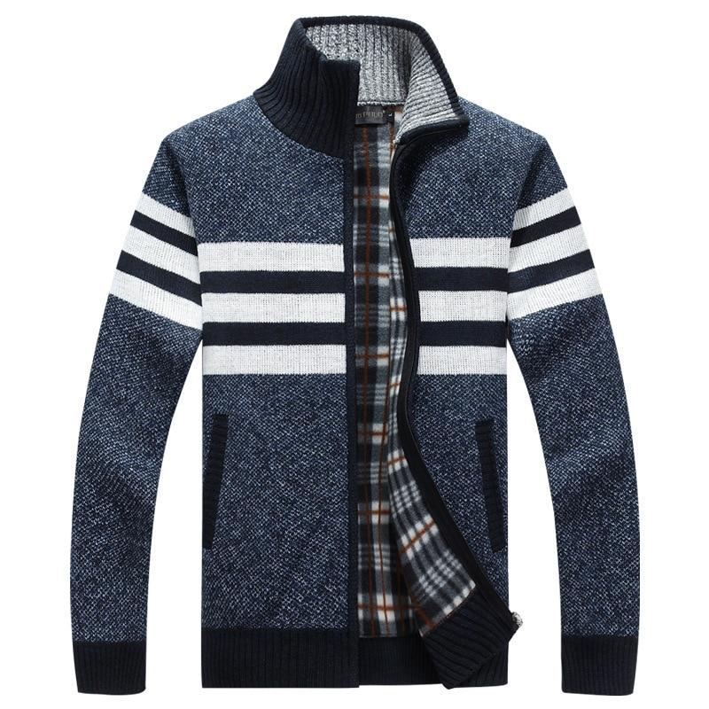Autumn Winter Mens Sweaters Casual Striped Fleece Warm Cardigan Men Windbreaker Stand Collar Long Sleeve Sweater Hombre