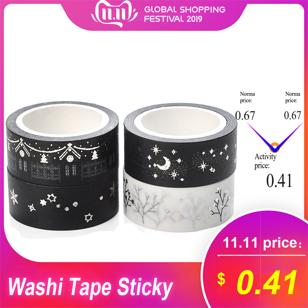 15mm*5m Gold Foil/Silver Foil Printed Patterns Washi Tape Sticky Adhesive Paper Masking Tapes For DIY Decoration Gift Wrapping