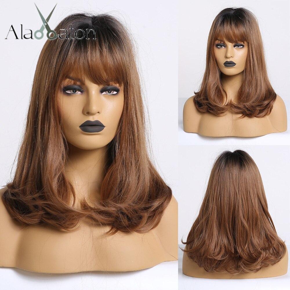 ALAN EATON Bobo Wigs With Bangs Short Wavy Synthetic Ombre Black Brown Wigs Women Medium Heat Resistant Cosplay Lolita Cute Wigs