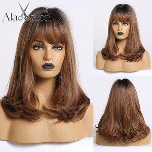 Image 1 - ALAN EATON Bobo peruk patlama ile kısa dalgalı sentetik Ombre siyah kahverengi peruk kadınlar orta isıya dayanıklı Cosplay Lolita sevimli peruk