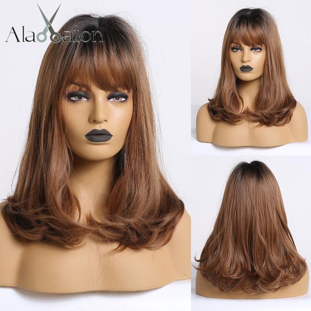 ALAN EATON Bobo peruk patlama ile kısa dalgalı sentetik Ombre siyah kahverengi peruk kadınlar orta isıya dayanıklı Cosplay Lolita sevimli peruk