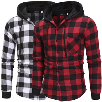 Men's Shirts Autumn Fashion Casual Plaid Shirts Long Sleeve Cotton High Quality Pullover Hooded Shirt Winter Mens Top Blouse