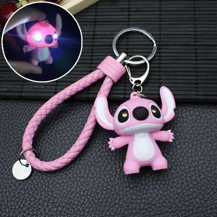 Dulce muñeca de dibujos animados voz ligera LED Stitch muñeca llavero juguete Animal campanas llavero baratijas bolso para coche llaveros regalo Porte Clef
