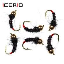 ICERIO 8PCS Talão de Bronze Cabeça Preto Faisão Cauda Rio Ninfa Voa Truta Fly Fishing Lures #12