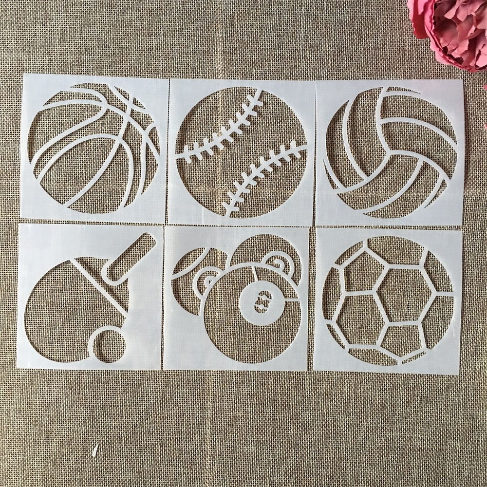 6Pcs/Lot 10cm Sports Ball Basketball DIY Layering Stencils Wall Painting Scrapbook Coloring Embossing Album Decorative Template