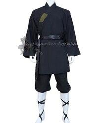 Черный хлопковый костюм-монах шаолин для боевых искусств, униформа Тай-Чи, крыло Чунь, одежда для кунг-фу