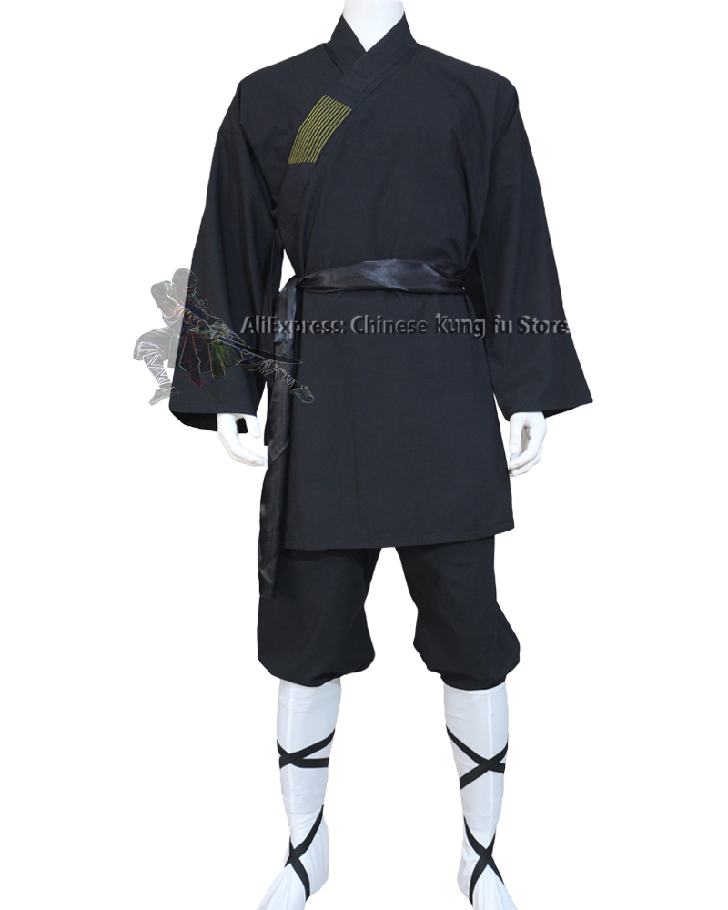 Black Cotton Shaolin Monk Suit Martial Arts Tai Chi Uniform Wing Chun Kung Fu Clothes