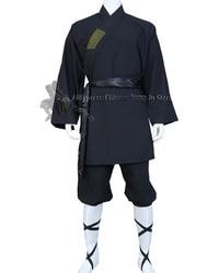Nero di Cotone Monaco Shaolin Vestito di Arti Marziali Tai Chi Uniform Wing Chun Kung Fu Abbigliamento