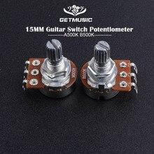 2pcs A500K /A250K Potentiometer Splined Small Pot Electric Guitar Bass Effect Amp Tone Volume 15mm Shaft Parts