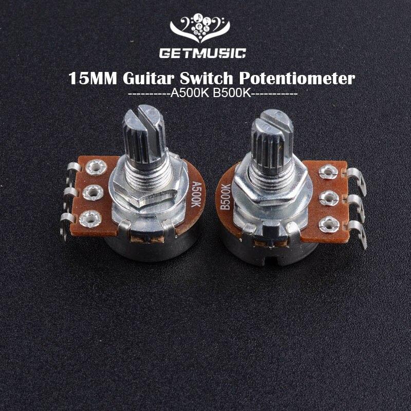2 uds A500K/A250K potenciómetro estriado pequeño bote guitarra eléctrica bajo efecto amplificador tono volumen 15mm eje partes