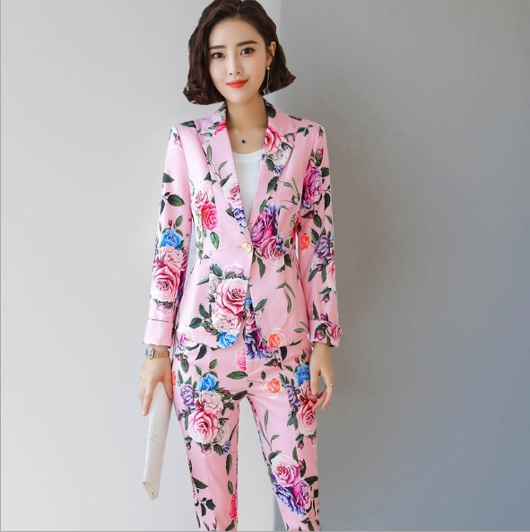 Elegant Printed Fashion Business Office Pant Suits For Women Blazer and Trouser 2 Piece Set Ladies Floral Suits Plus Size Outfit