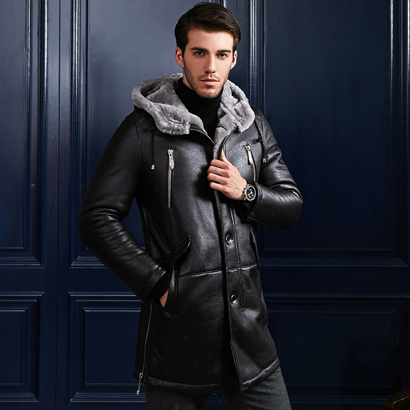 Genuine Leather Jacket Men Winter Warm Double-faced Fur Coat Natural Real Wool Fur Coat Plus Size Jaqueta De Couro ZL373