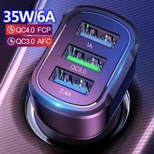 35w qc 3.0 4.0 rápido 3 usb carregador de carro universal carregamento rápido no carro 3 porto carro-carregador para iphone samsung xiaomi carga inteligente