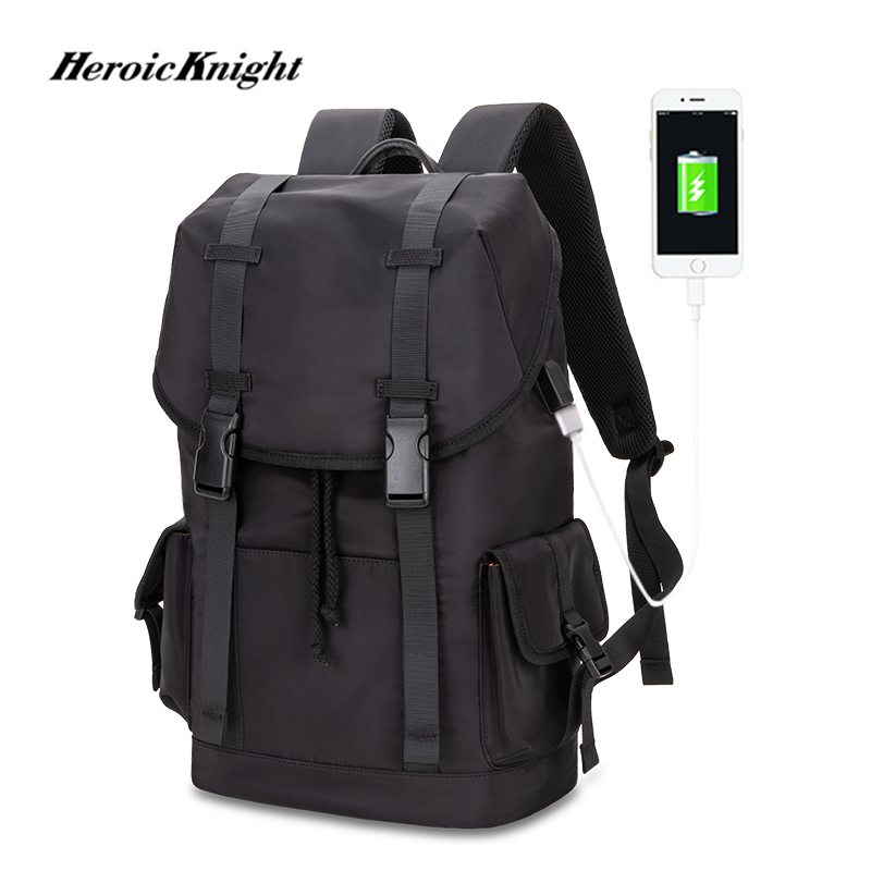 Heroic Knight Large Capacity Travel Backpacks Men USB Charge 15.6in Laptop Backpack For Teenagers Drawstring Bag Male School Bag
