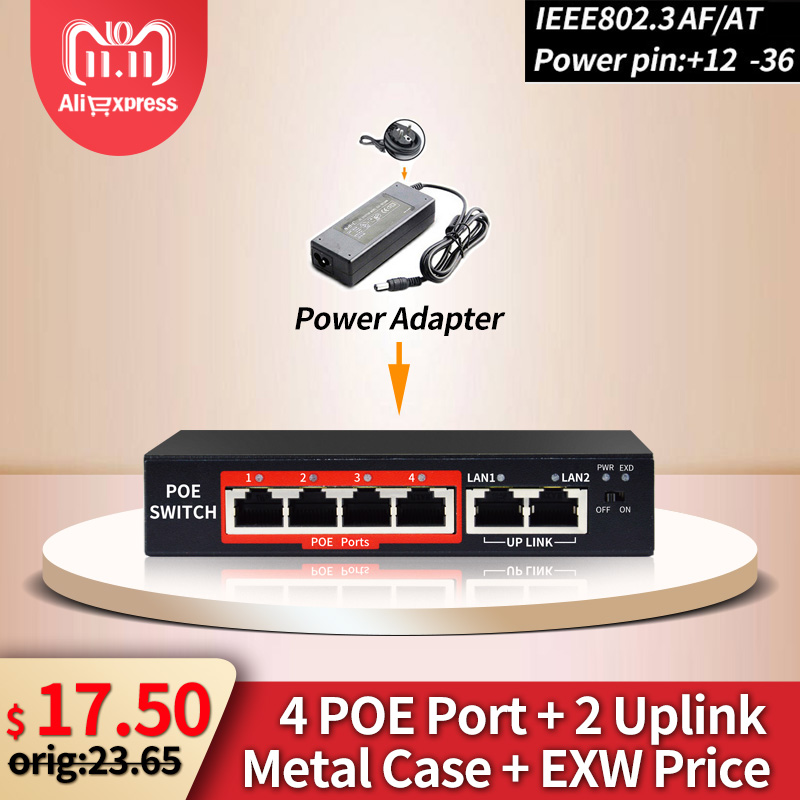 4 Ports 48V POE Switch With Standardized RJ45 Port IEEE 802.3 Af/at 48V Network Switch Ethernet With 10/100Mbps For POE Camera