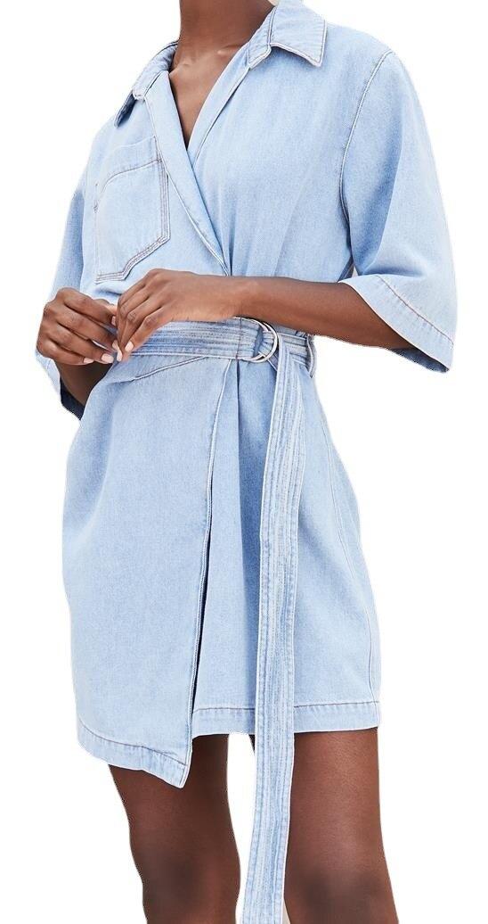 2021 primavera verão vestido feminino francês envolto pijama denim azul moda com cinto vestido curto