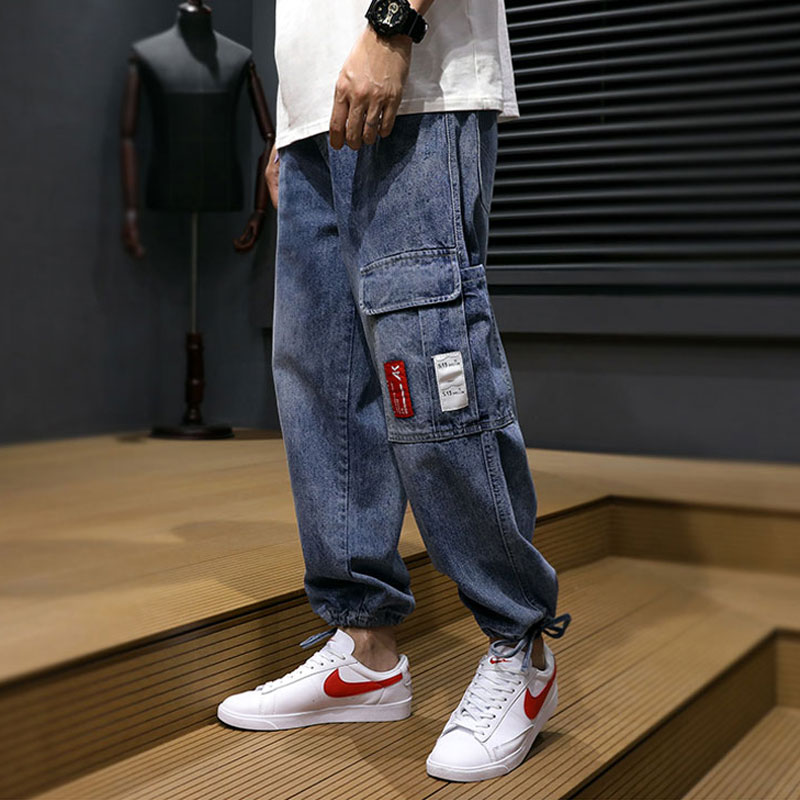 Fashion Streetwear Men Jeans Loose Fit Spliced Pocket Designer Harem Pants Spring Summer Hip Hop Jeans Men Cargo Pants Hombre