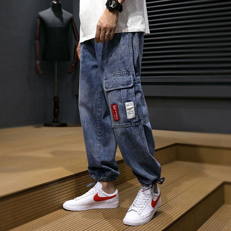 Fashion Streetwear Men Jeans Loose Fit Spliced Pocket Designer Harem Pants Spring Summer Hip Hop Jeans Men Cargo Pants Hombre