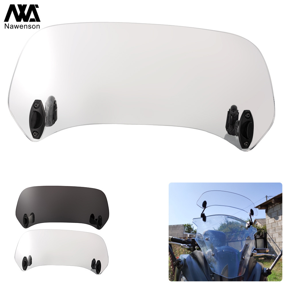 Smoky-Light Justech Motorcycle Adjustable Clip On Windshield Extension Spoiler Wind Deflector