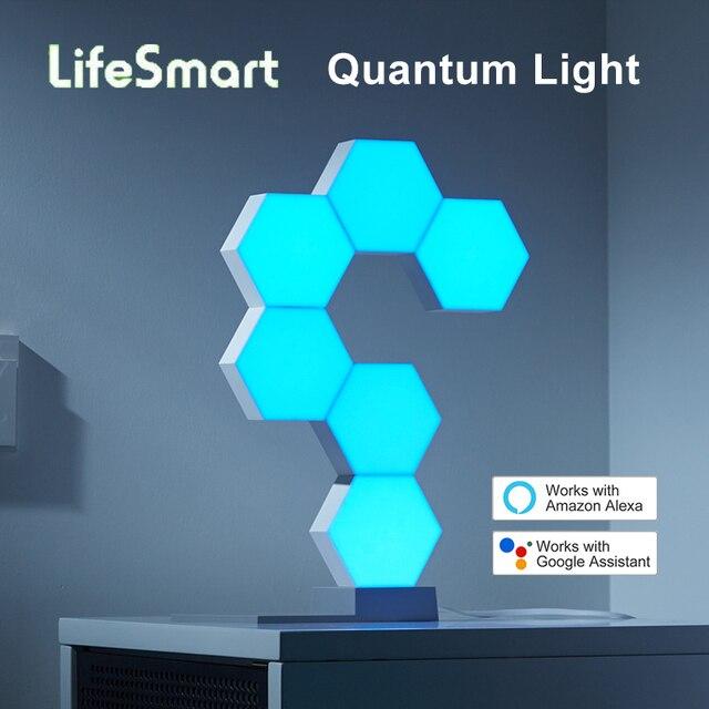 LifeSmart Lámpara LED Quantum para montaje de geometría inteligente, con WiFi, compatible con asistente de Google, Alexa, Cololight, APP de Control inteligente