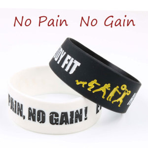 1PCS No Pain No Gain Silicone Bracelet High Quality Wristband 20width Wide colorfilled Band