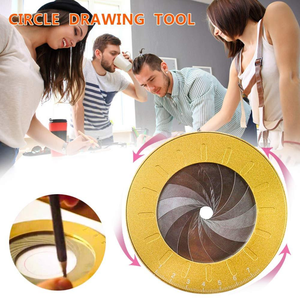 Round Circle Drawing Tool Ruler Otary Measurement  Stainless Steel Adjustable Draft Marks Creative