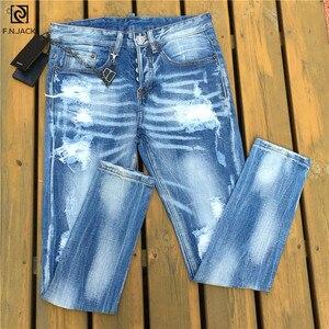 Image 5 - F. n. שקע Mens ג ינס אופנתי Ripped ג ינס מכנסיים Biker סקיני ג ינס מכנסיים גברים Slim ישר מותג ג ינס Ripped ג ינס זכר