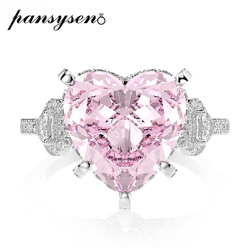 PANSYSEN 11ct exquis coeur Design Narutal rose Quartz anneaux pour les femmes nouveau classique 925 en argent Sterling bijoux bague de fiançailles